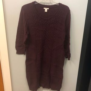 Caslon Cable-Knit Sweater Dress in Cranberry Sz L